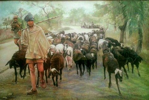 sheepman-a-village-lifart-painting