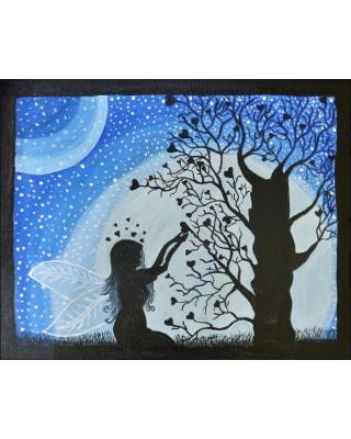 Girl offering prayer to tree