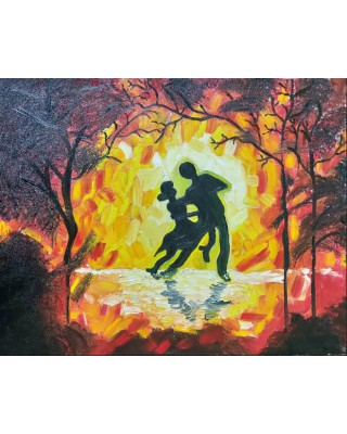 dancing couple in forest