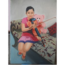 A Girl is Sitting With A Violine