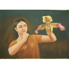 A Girl With Orchid - Best for Bedroom Wall