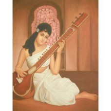 A Beautiful Girl Playing Veena