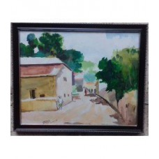 Beautiful  Village Water Color on Canvas