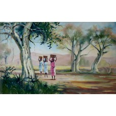 Indian Village Life Painting on Canvas