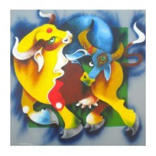 BLUE BULL Abstract Acrylic on Canvas Painting